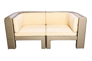 Photograph of Platinum Rattan Two Seater Lounge Curved – 176cmL x 88cmD x 50cmH