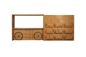 Photograph of Plywood Eco Bar and display wall with 9 removable crates – 2.8mH x 2.5mL x 72cmD