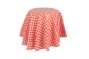 Photograph of Red and White Chequered Table Cloth (plastic) – 1.8mD