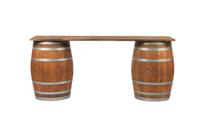 Photograph of Restored Wine Barrel Bar with Wooden Top – 2.2mL x 60cmW
