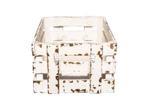 Photograph of Rustic White Wash Crate Small – 33cmL x 24cmW x 17cmD