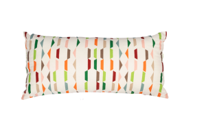 Photograph of White and Multicolour Pattern Cushion – 55cmL x 25cmH