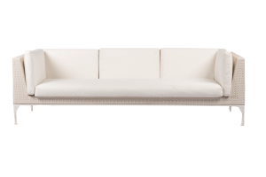 Photograph of White Rattan 3 Seater Lounge with arms – 2.5mW x 90cmD  – White Cushions