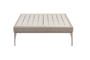 Photograph of White Rattan Low Coffee Table Small – 90cmSQ