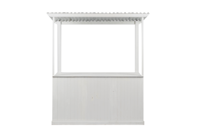 Photograph of White Timber Slatted Market Stall – 1.8mW x 2.2mH x 60cmD