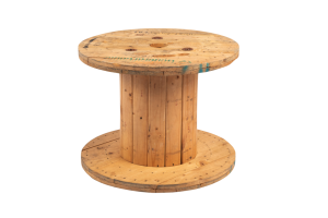 Photograph of Wooden Reel Cocktail Table