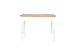 Photograph of White Console Table with Wooden top – 1.5mL x 50cmW x 75cmH