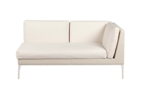 Photograph of White Rattan 2 Seater Lounge with left arm – 1.6mW  x 90cmD