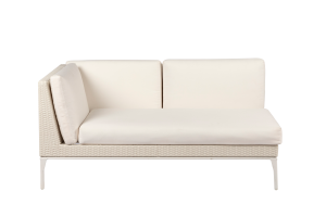 Photograph of White Rattan 2 Seater Lounge with right arm – 1.6mW  x 90cmD