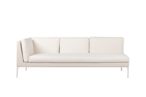 Photograph of White Rattan 3 Seater Lounge with left arm – 2.2mW x 90cmD  – White Cushions