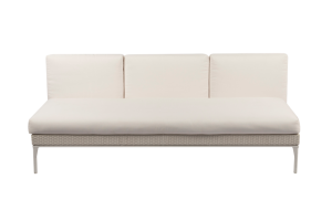 Photograph of White Rattan 3 Seater Lounge with no arms – 195cmW x 90cmD  – White Cushions