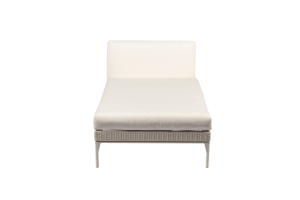 Photograph of White Rattan Chaise Lounge – 1.6mL x 90cmW – White Cushions