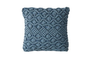 Photograph of Dusty Blue Macrame Cushion – 45cmSQ