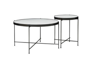 Photograph of Linear Black Round Coffee Table Duo – 70cmL x 70cmD x 40cmH