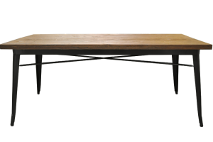 Photograph of Tolix Dining Table Wood Top – Black