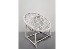 Photograph of White Rattan Scoop Chair – 90cm x 90cm