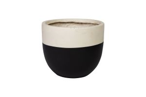Photograph of Small Ceramic Black and White Pot – 32cmD