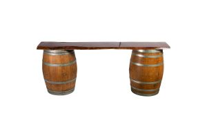 Photograph of Restored Wine Barrel Bar With Polished Marri Wood Top – 3m Long