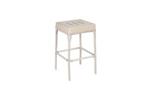 Photograph of White Rattan Cocktail Stool – 72cmH x 40cmSq