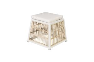 Photograph of White Rattan Ottoman Square