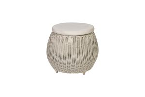 Photograph of White Rattan Stool – 55cmD x 35cmH