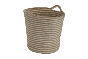 Photograph of Rope and Jute Stripe Basket with Handles