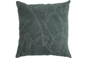 Photograph of Embroidered Leaf Cushion Green 43cmSQ