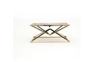 Photograph of Luxe Geometric Wood and Gold Coffee Table – 1mSQ x 45cmH