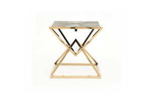Photograph of Luxe Geometric Wood and Gold Side Table  – 60cmSQ x 60cmH