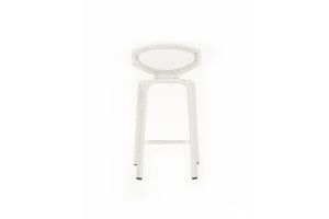 Photograph of White Rattan Miami Stool –  570mm × 460mm × 1060mmH