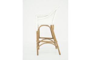 Photograph of Galley Bay White/ Natural Rattan Cocktail Stool  – 60cmW x 60cmD x 1.2mH