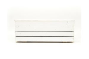 Photograph of White Planter Boxes – 	164cmL × 39cmW × 60cmH
