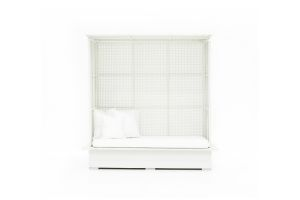 Photograph of White Rattan Enclosed Canopy Daybed-