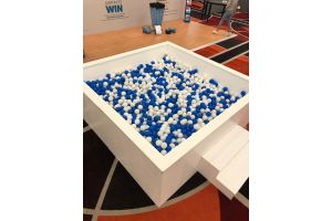 Photograph of Ball Pit 2.3mW x 2.4mL includes blue and white balls and labour