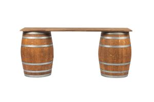 Photograph of Restored Wine Barrel Bar with Wooden Top