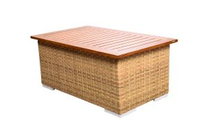 Photograph of Classic Rattan Coffee Table with Teak Top