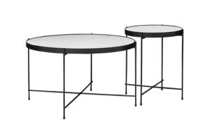 Photograph of Linear Black Round Coffee Table Duo
