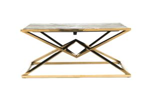 Photograph of Luxe Geometric Wood and Gold Coffee Table