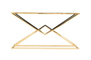 Photograph of Luxe Geometric Wood and Gold Console Table