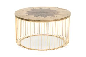 Photograph of Luxe Parquet Coffee Table with Gold Frame - Large