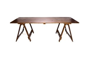 Photograph of Exposed Walnut Banquet Trestle Table