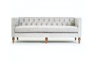Photograph of Luxe Velvet 3 seater lounge – Silver Grey Snake – 2.13mL × 84cmW × 80cmH