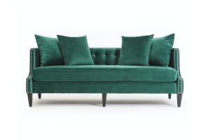 Photograph of Luxe Velvet 3 seater with silver studs - Emerald