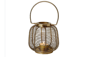 Photograph of Gold Wire lantern Small - 13cmH