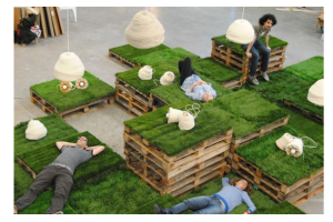 Photograph of Astroturf Pallet Daybed Assorted Stack