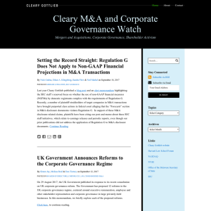 M&A and Corporate Governance Watch