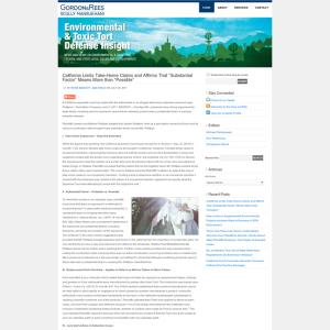 Environmental and Toxic Tort Defense Insight