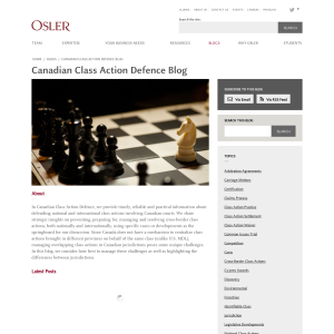 Canadian Class Action Defence Blog