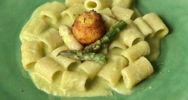 Mezzi paccheri rigati con crema di asparagi bianchi e verdi, pecorino e tuorlo d'uovo fritto