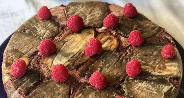 Torta al cioccolato fondente, melanzane caramellate, lamponi di Ernst Knam